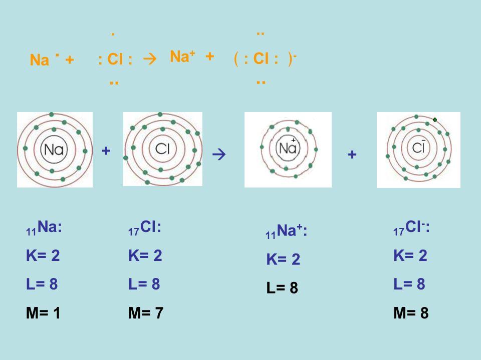 Na. + 11 Na: K= 2 L= 8 M= 1 + +. : Cl :.. Na + +.. : Cl : -.. 11 Na + : K= 2 L= 8 17 Cl: K= 2 L= 8 M= 7 17 Cl - : K= 2 L= 8 M= 8
