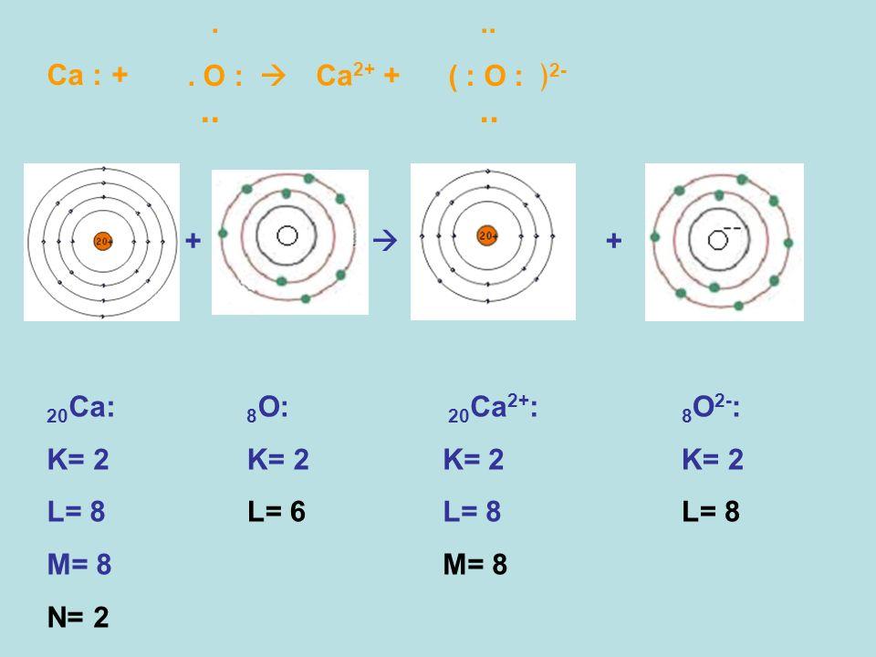 Ca : + 20 Ca: K= 2 L= 8 M= 8 N= 2 + +.. O :.. Ca 2+ +.. ( : O : 2-.. 20 Ca 2+ : K= 2 L= 8 M= 8 8 O: K= 2 L= 6 8 O 2- : K= 2 L= 8