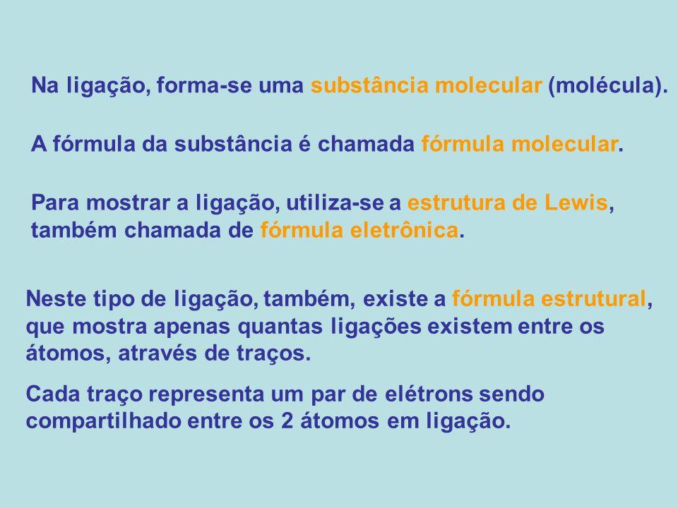 Na ligação, forma-se uma substância molecular (molécula). A fórmula da substância é chamada fórmula molecular. Para mostrar a ligação, utiliza-se a es