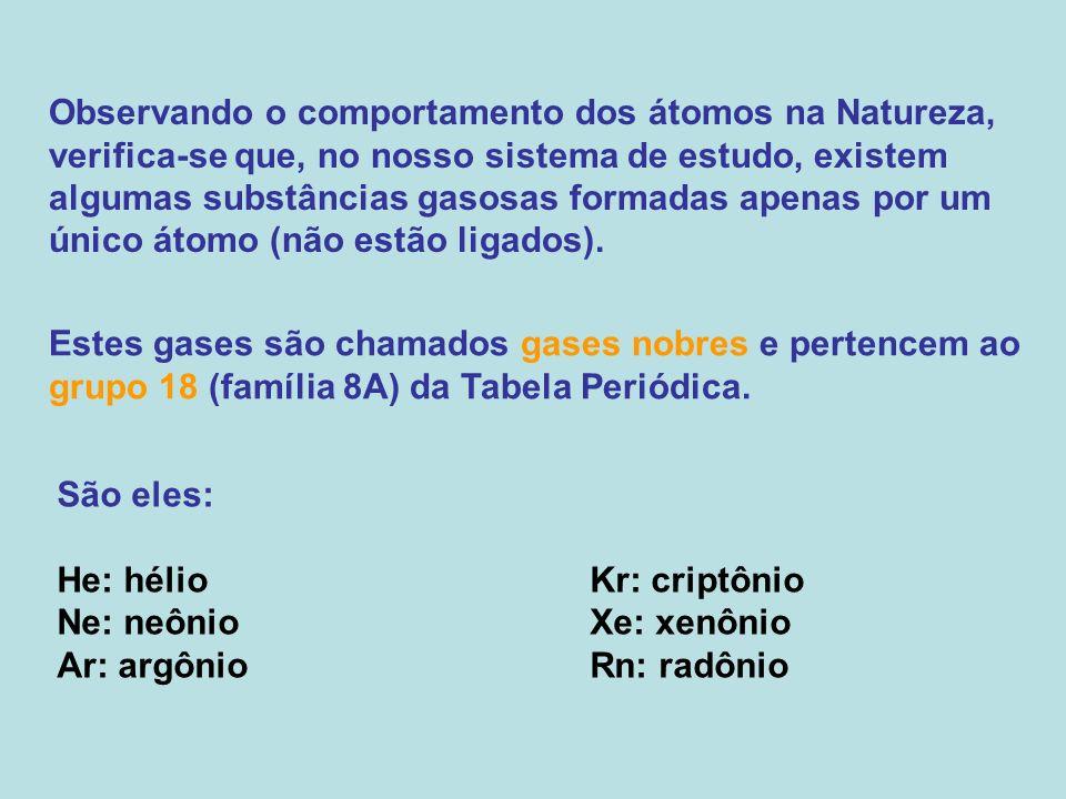 Observando o comportamento dos átomos na Natureza, verifica-se que, no nosso sistema de estudo, existem algumas substâncias gasosas formadas apenas po