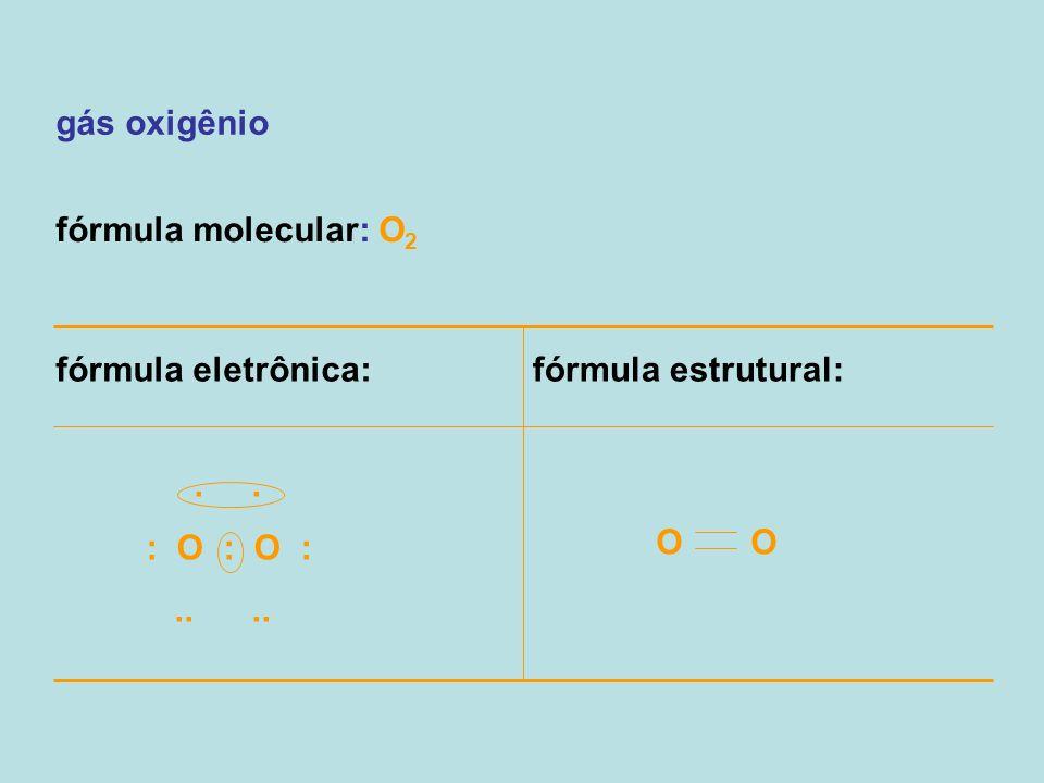 gás oxigênio fórmula molecular: O 2 fórmula eletrônica:fórmula estrutural: O.. : O : O :....