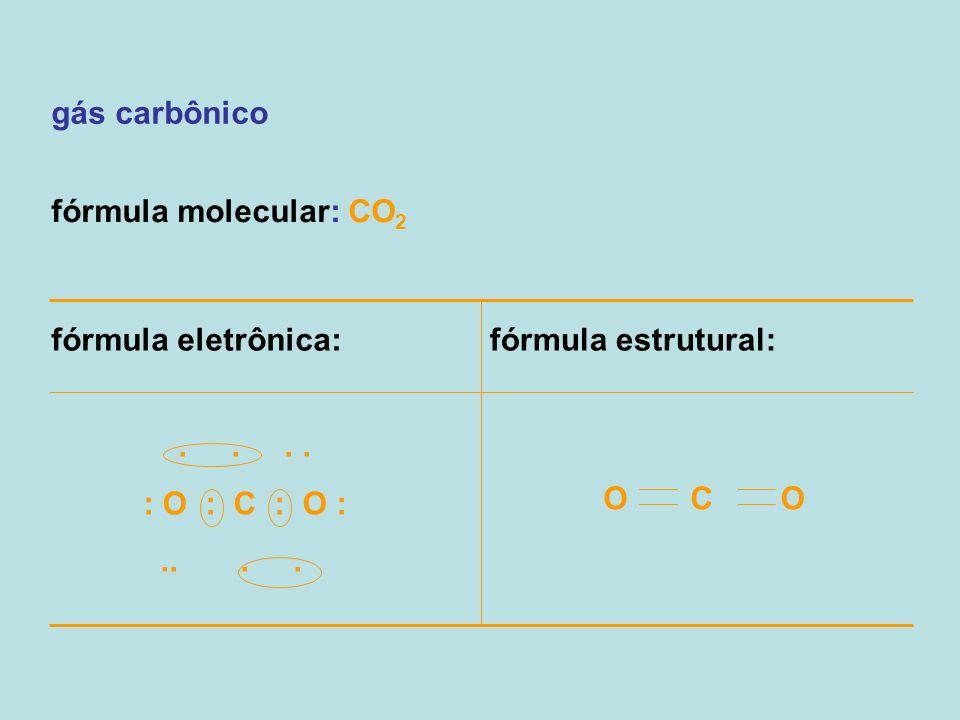 gás carbônico fórmula molecular: CO 2 fórmula eletrônica:fórmula estrutural:.... : O : C : O :.... O C O
