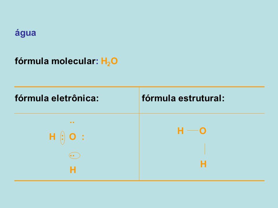 água fórmula molecular: H 2 O fórmula eletrônica:fórmula estrutural:.. H : O :.. H H O H