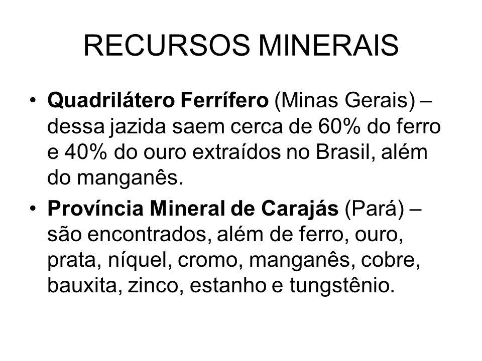 RECURSOS MINERAIS Quadrilátero Ferrífero (Minas Gerais) – dessa jazida saem cerca de 60% do ferro e 40% do ouro extraídos no Brasil, além do manganês.