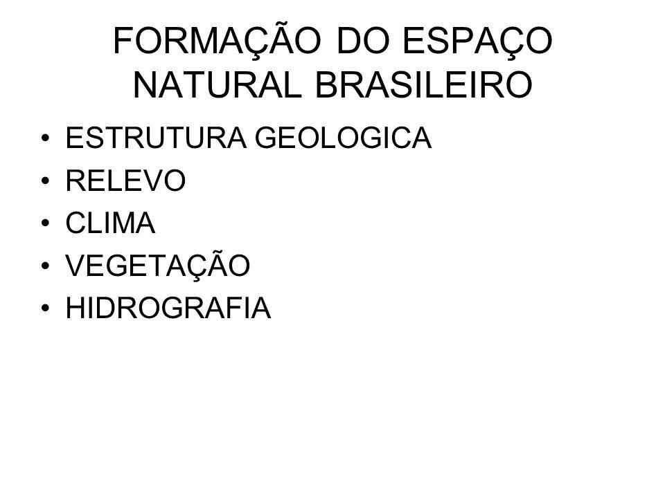 FORMAÇÃO DO ESPAÇO NATURAL BRASILEIRO ESTRUTURA GEOLOGICA RELEVO CLIMA VEGETAÇÃO HIDROGRAFIA