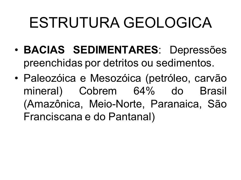 ESTRUTURA GEOLOGICA BACIAS SEDIMENTARES: Depressões preenchidas por detritos ou sedimentos. Paleozóica e Mesozóica (petróleo, carvão mineral) Cobrem 6