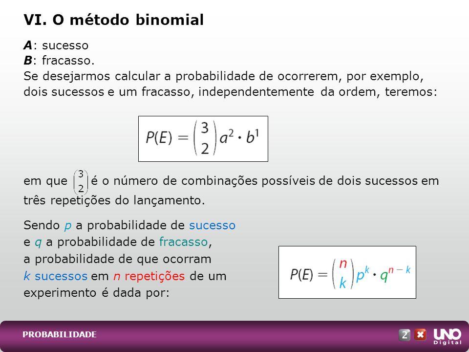 PROBABILIDADE A: sucesso B: fracasso. Se desejarmos calcular a probabilidade de ocorrerem, por exemplo, dois sucessos e um fracasso, independentemente