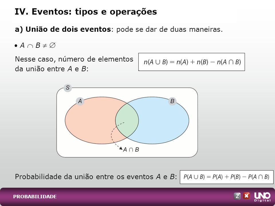 a) União de dois eventos: pode se dar de duas maneiras. Nesse caso, número de elementos da união entre A e B: IV. Eventos: tipos e operações Probabili