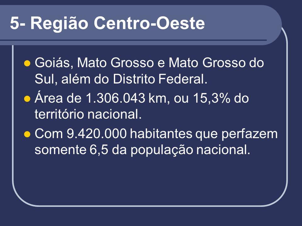 5- Região Centro-Oeste Goiás, Mato Grosso e Mato Grosso do Sul, além do Distrito Federal. Área de 1.306.043 km, ou 15,3% do território nacional. Com 9