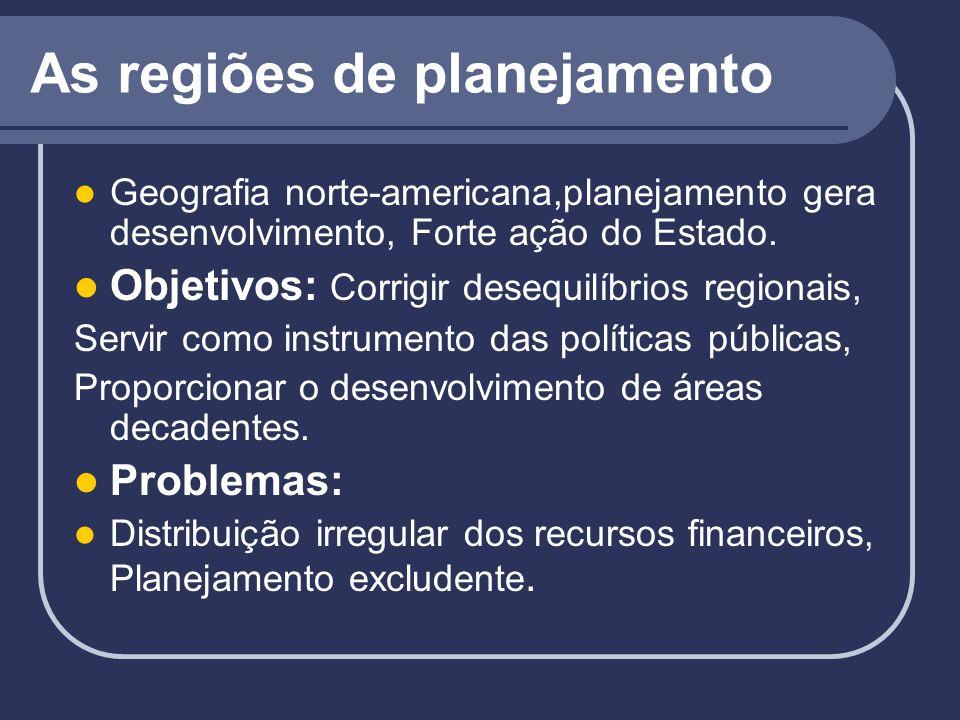 As regiões de planejamento Geografia norte-americana,planejamento gera desenvolvimento, Forte ação do Estado. Objetivos: Corrigir desequilíbrios regio