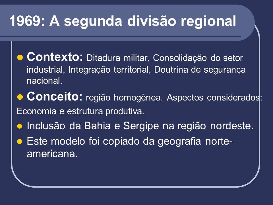 1969: A segunda divisão regional Contexto: Ditadura militar, Consolidação do setor industrial, Integração territorial, Doutrina de segurança nacional.