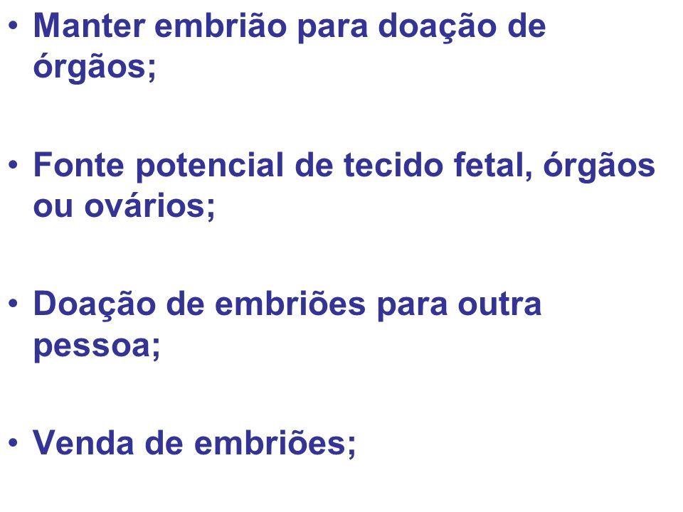 Manter embrião para doação de órgãos; Fonte potencial de tecido fetal, órgãos ou ovários; Doação de embriões para outra pessoa; Venda de embriões;