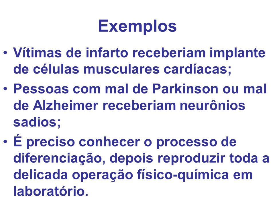 Exemplos Vítimas de infarto receberiam implante de células musculares cardíacas; Pessoas com mal de Parkinson ou mal de Alzheimer receberiam neurônios
