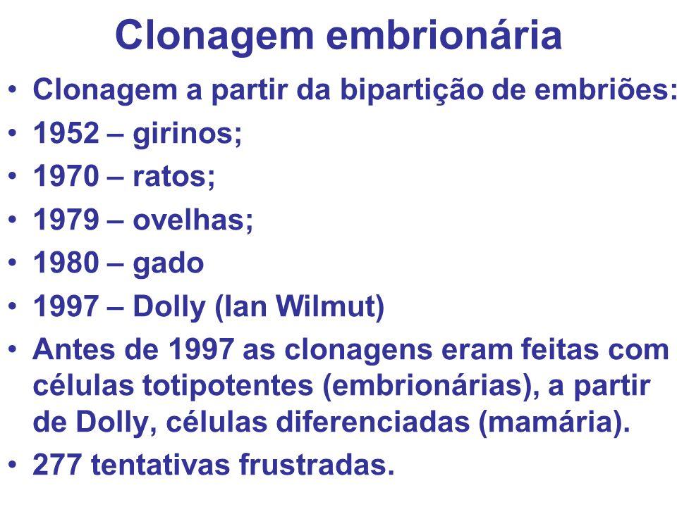 Clonagem embrionária Clonagem a partir da bipartição de embriões: 1952 – girinos; 1970 – ratos; 1979 – ovelhas; 1980 – gado 1997 – Dolly (Ian Wilmut)