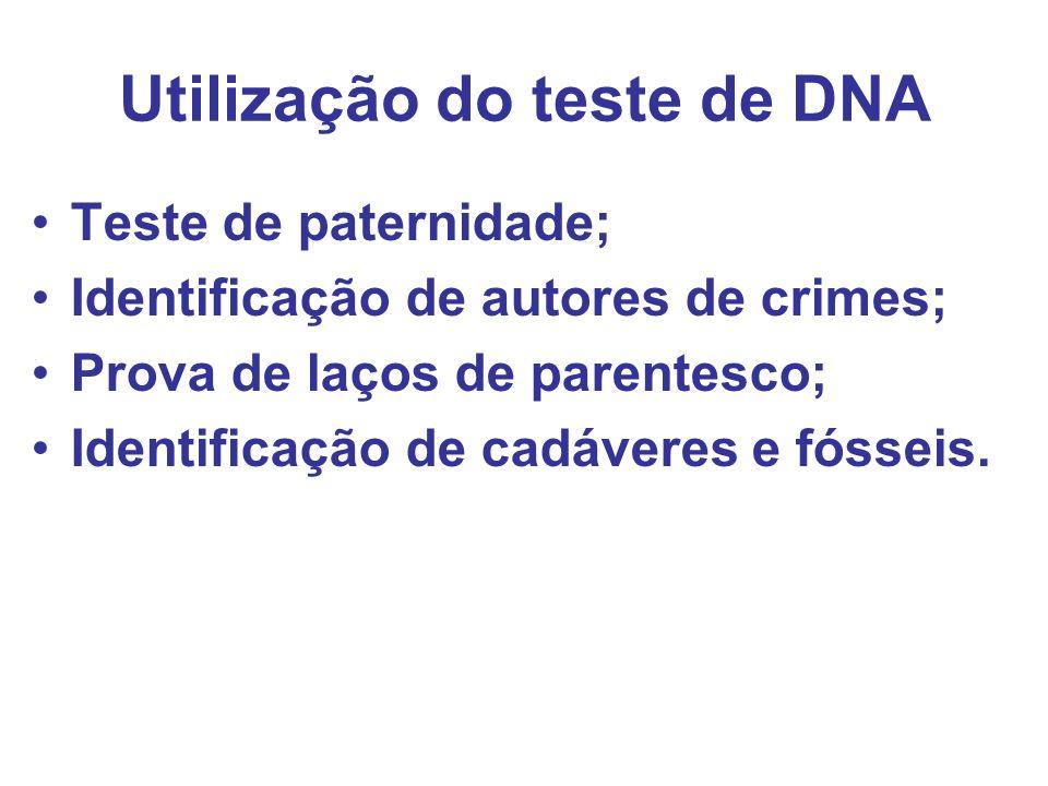 Utilização do teste de DNA Teste de paternidade; Identificação de autores de crimes; Prova de laços de parentesco; Identificação de cadáveres e fóssei