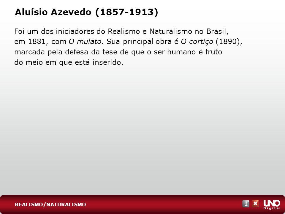 Aluísio Azevedo (1857-1913) Foi um dos iniciadores do Realismo e Naturalismo no Brasil, em 1881, com O mulato. Sua principal obra é O cortiço (1890),