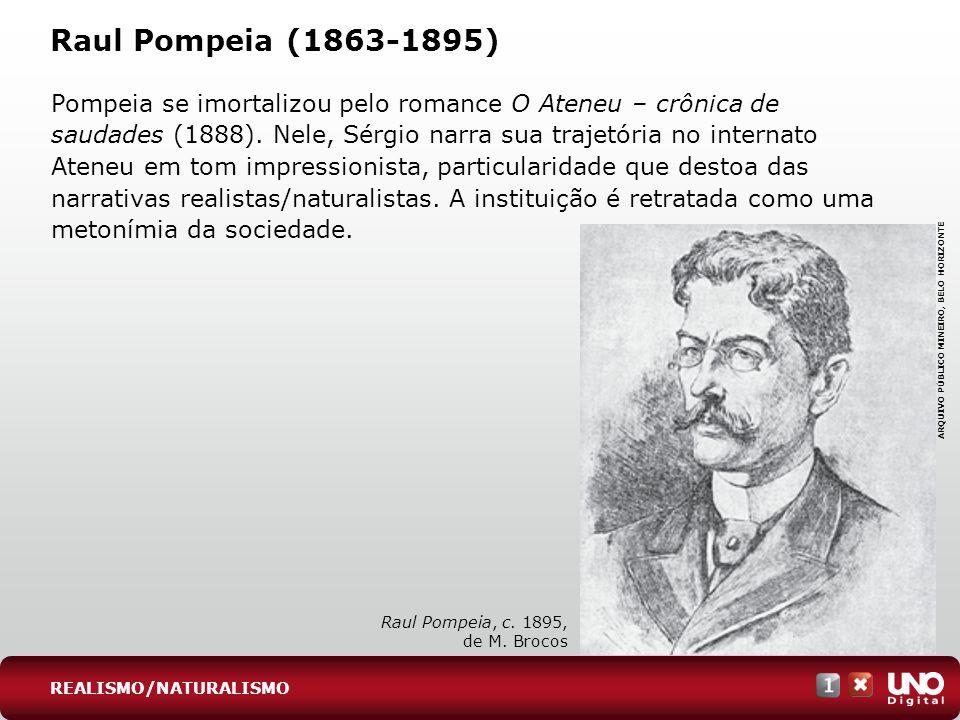 Raul Pompeia (1863-1895) Pompeia se imortalizou pelo romance O Ateneu – crônica de saudades (1888). Nele, Sérgio narra sua trajetória no internato Ate