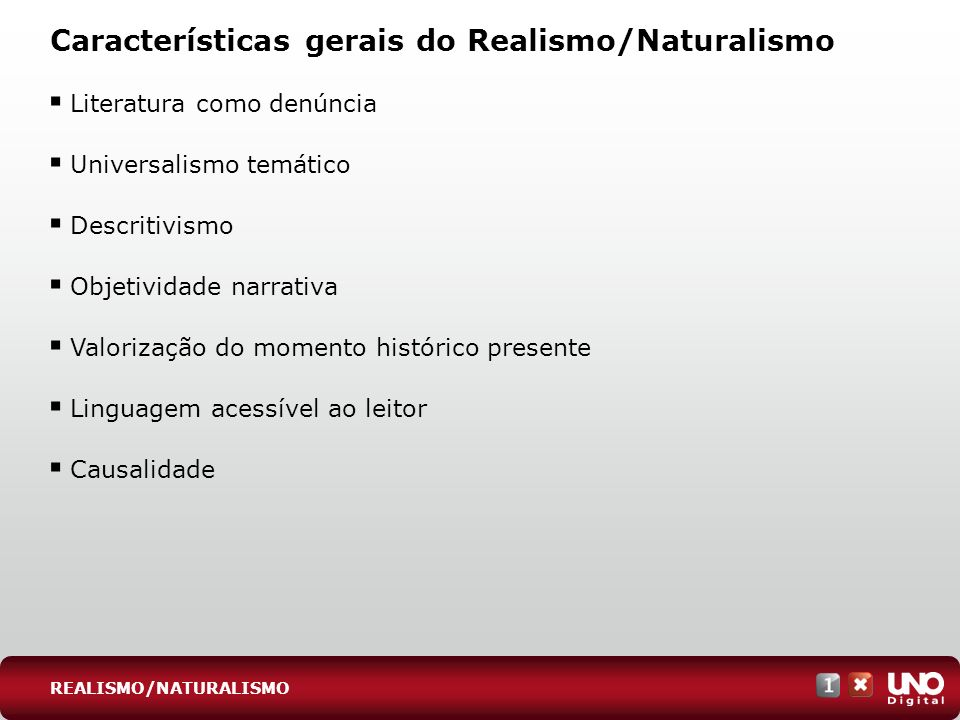 Características gerais do Realismo/Naturalismo Literatura como denúncia Universalismo temático Descritivismo Objetividade narrativa Valorização do mom