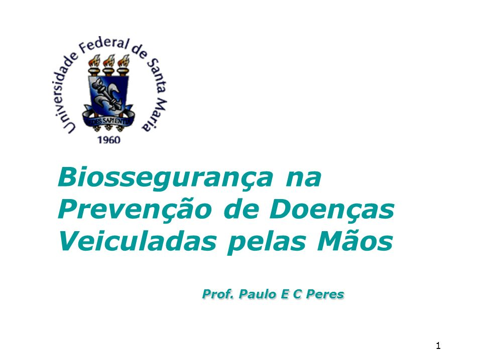 1 Biossegurança na Prevenção de Doenças Veiculadas pelas Mãos Prof. Paulo E C Peres