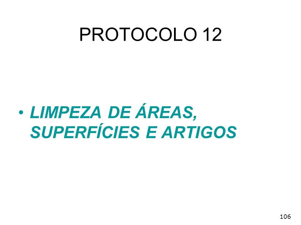 106 PROTOCOLO 12 LIMPEZA DE ÁREAS, SUPERFÍCIES E ARTIGOS