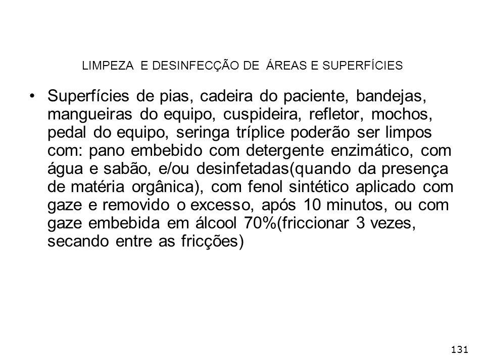 131 LIMPEZA E DESINFECÇÃO DE ÁREAS E SUPERFÍCIES Superfícies de pias, cadeira do paciente, bandejas, mangueiras do equipo, cuspideira, refletor, mocho