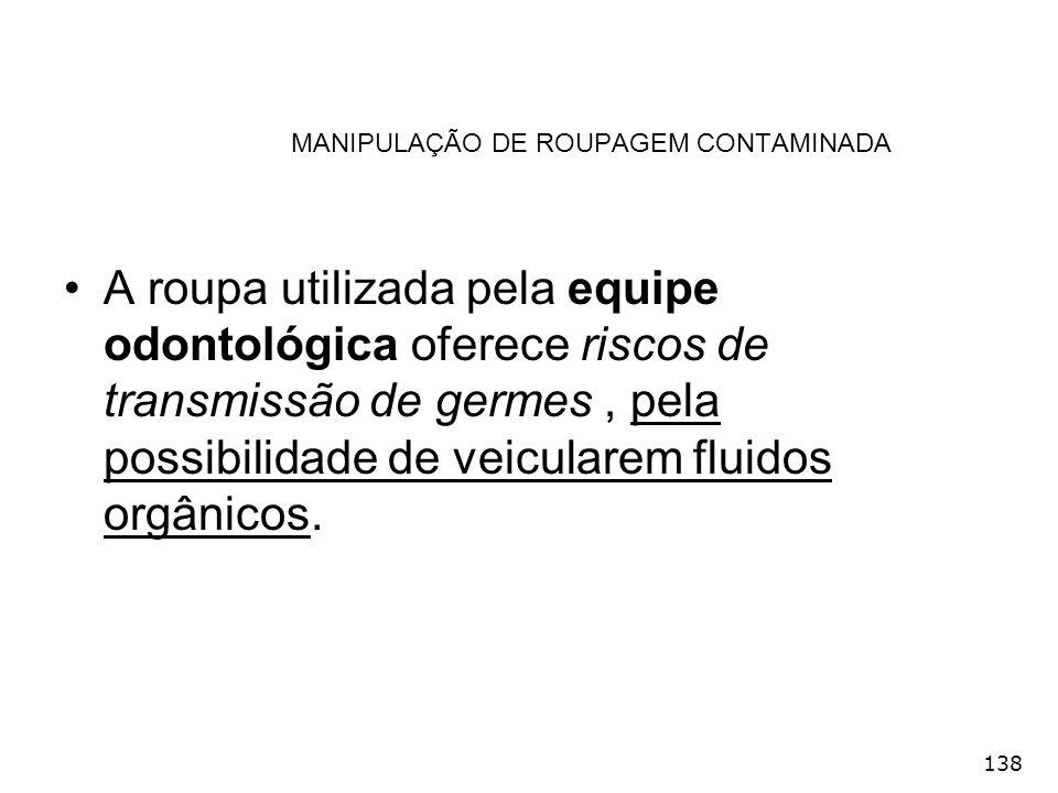 138 MANIPULAÇÃO DE ROUPAGEM CONTAMINADA A roupa utilizada pela equipe odontológica oferece riscos de transmissão de germes, pela possibilidade de veic