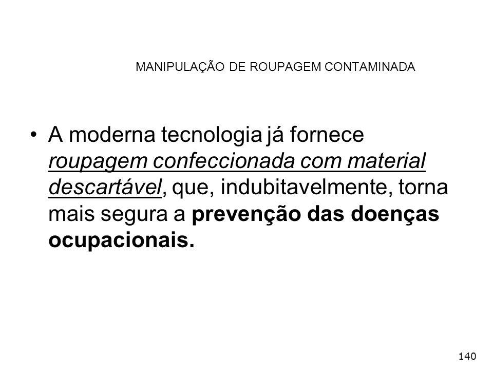 140 MANIPULAÇÃO DE ROUPAGEM CONTAMINADA A moderna tecnologia já fornece roupagem confeccionada com material descartável, que, indubitavelmente, torna