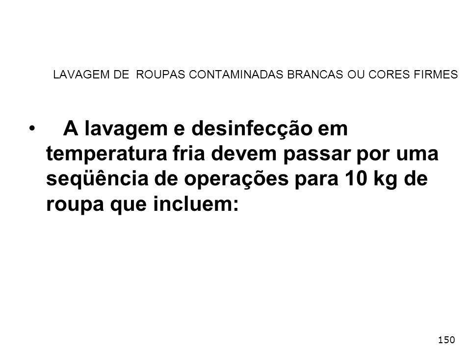 150 LAVAGEM DE ROUPAS CONTAMINADAS BRANCAS OU CORES FIRMES A lavagem e desinfecção em temperatura fria devem passar por uma seqüência de operações par