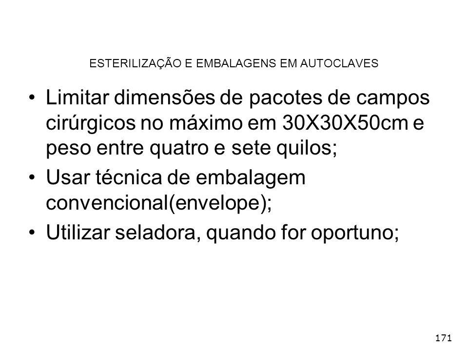 171 ESTERILIZAÇÃO E EMBALAGENS EM AUTOCLAVES Limitar dimensões de pacotes de campos cirúrgicos no máximo em 30X30X50cm e peso entre quatro e sete quil