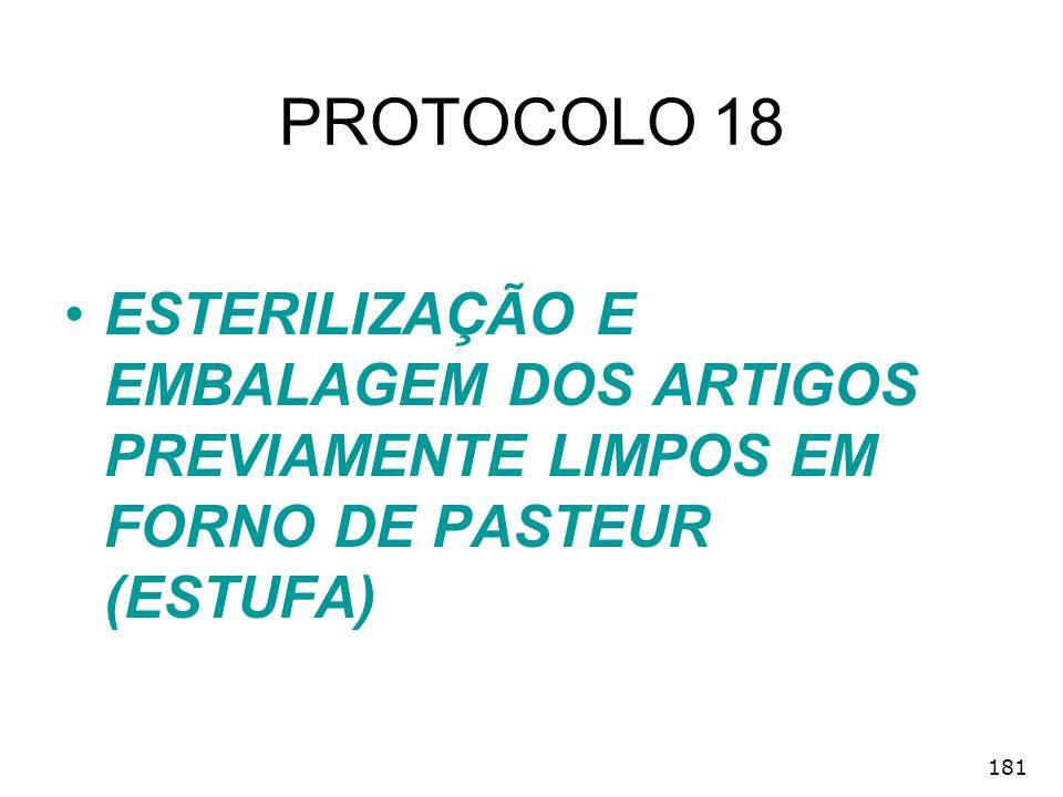 181 PROTOCOLO 18 ESTERILIZAÇÃO E EMBALAGEM DOS ARTIGOS PREVIAMENTE LIMPOS EM FORNO DE PASTEUR (ESTUFA)
