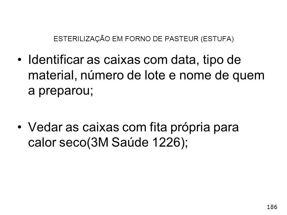 186 ESTERILIZAÇÃO EM FORNO DE PASTEUR (ESTUFA) Identificar as caixas com data, tipo de material, número de lote e nome de quem a preparou; Vedar as ca