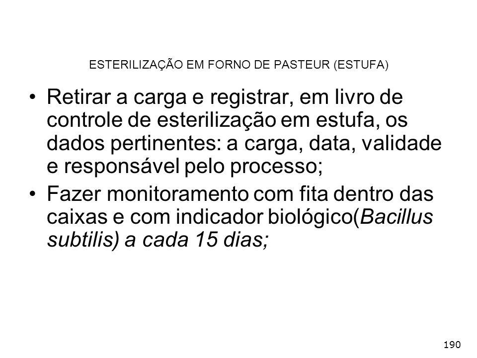 190 ESTERILIZAÇÃO EM FORNO DE PASTEUR (ESTUFA) Retirar a carga e registrar, em livro de controle de esterilização em estufa, os dados pertinentes: a c
