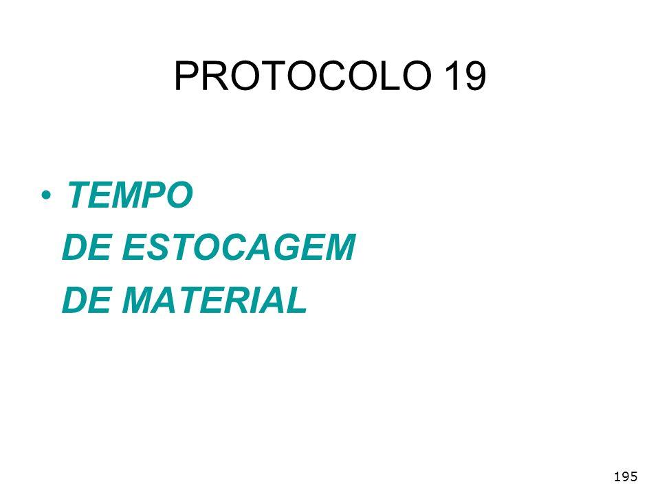 195 PROTOCOLO 19 TEMPO DE ESTOCAGEM DE MATERIAL
