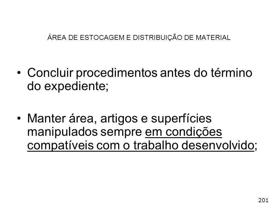 201 ÁREA DE ESTOCAGEM E DISTRIBUIÇÃO DE MATERIAL Concluir procedimentos antes do término do expediente; Manter área, artigos e superfícies manipulados
