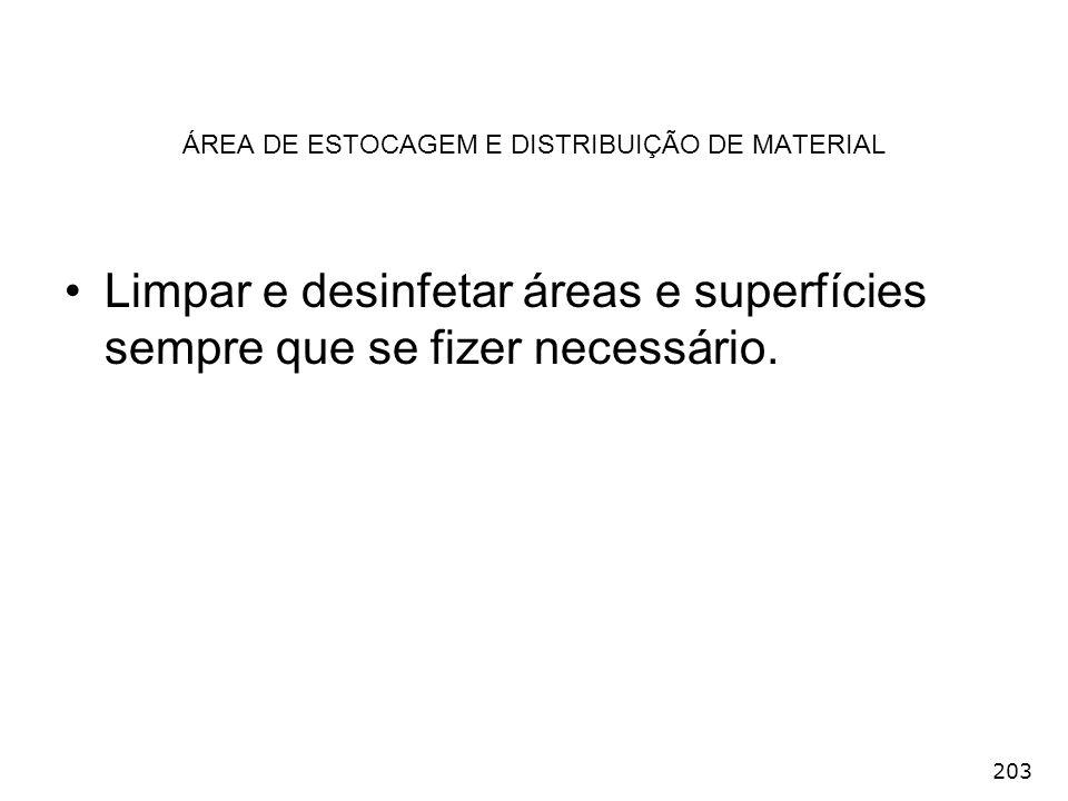 203 ÁREA DE ESTOCAGEM E DISTRIBUIÇÃO DE MATERIAL Limpar e desinfetar áreas e superfícies sempre que se fizer necessário.