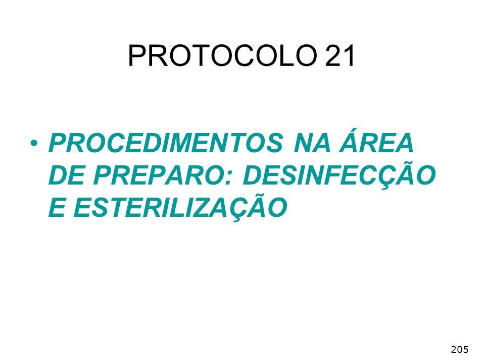 205 PROTOCOLO 21 PROCEDIMENTOS NA ÁREA DE PREPARO: DESINFECÇÃO E ESTERILIZAÇÃO