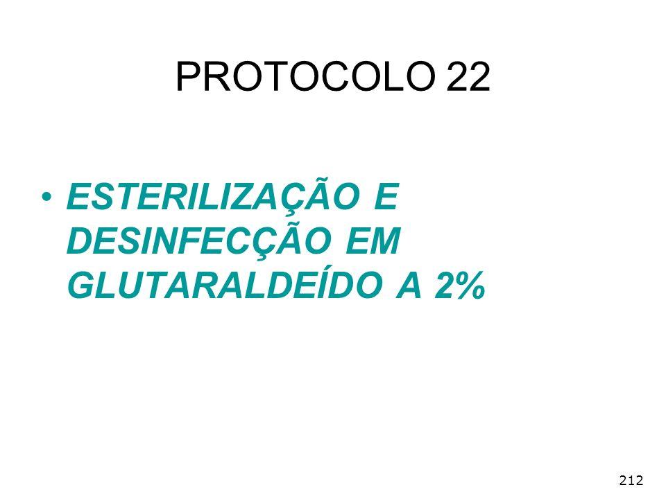 212 PROTOCOLO 22 ESTERILIZAÇÃO E DESINFECÇÃO EM GLUTARALDEÍDO A 2%