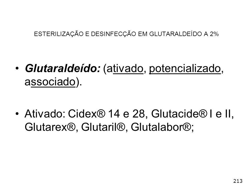 213 ESTERILIZAÇÃO E DESINFECÇÃO EM GLUTARALDEÍDO A 2% Glutaraldeído: (ativado, potencializado, associado). Ativado: Cidex® 14 e 28, Glutacide® I e II,