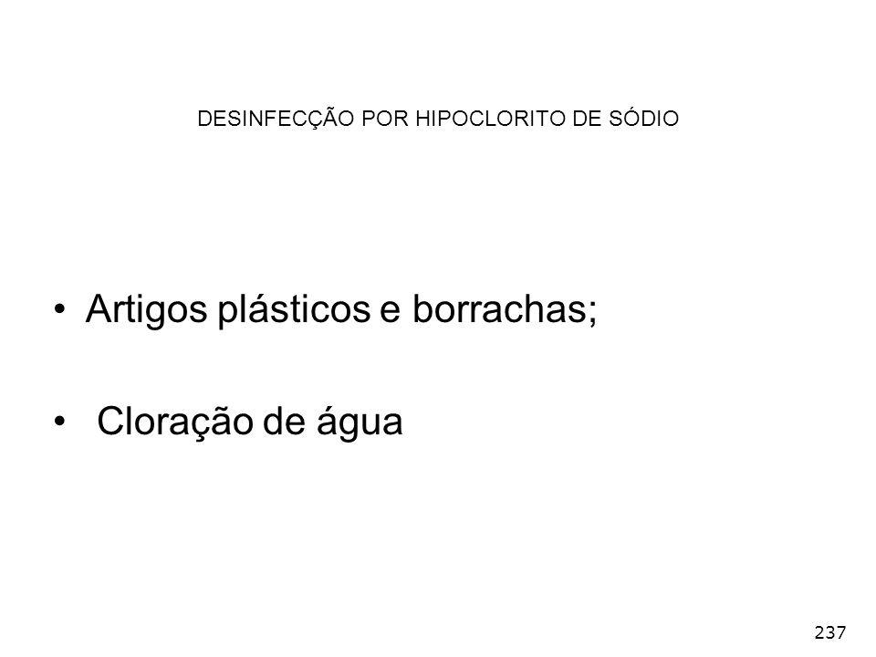 237 Artigos plásticos e borrachas; Cloração de água DESINFECÇÃO POR HIPOCLORITO DE SÓDIO