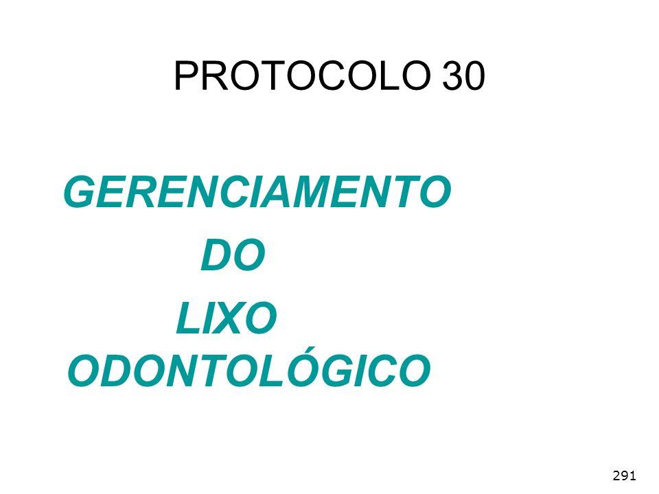 291 GERENCIAMENTO DO LIXO ODONTOLÓGICO PROTOCOLO 30