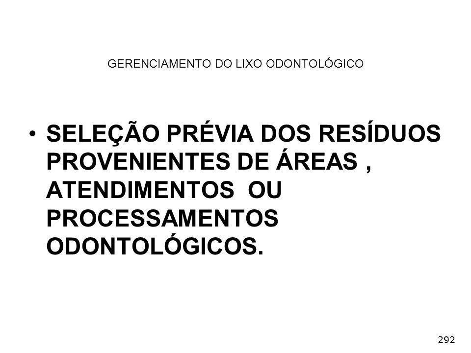 292 GERENCIAMENTO DO LIXO ODONTOLÓGICO SELEÇÃO PRÉVIA DOS RESÍDUOS PROVENIENTES DE ÁREAS, ATENDIMENTOS OU PROCESSAMENTOS ODONTOLÓGICOS.