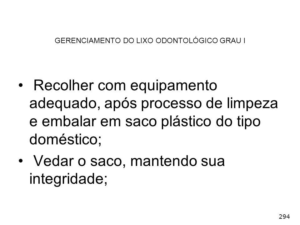 294 GERENCIAMENTO DO LIXO ODONTOLÓGICO GRAU I Recolher com equipamento adequado, após processo de limpeza e embalar em saco plástico do tipo doméstico