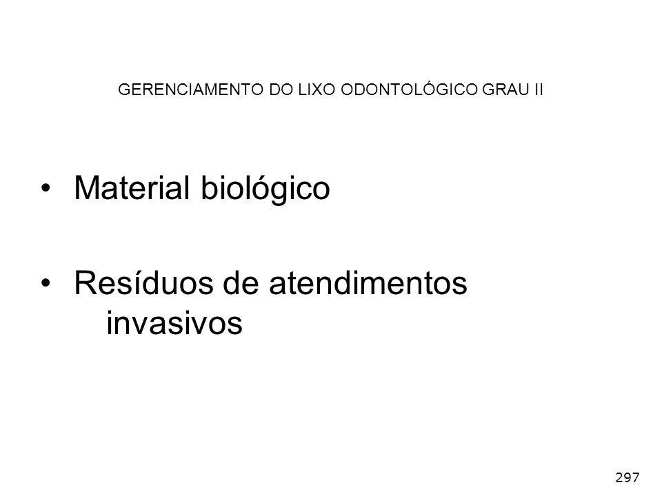 297 GERENCIAMENTO DO LIXO ODONTOLÓGICO GRAU II Material biológico Resíduos de atendimentos invasivos