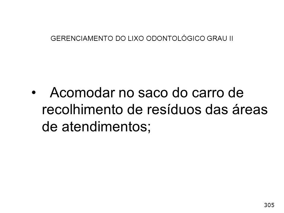 305 GERENCIAMENTO DO LIXO ODONTOLÓGICO GRAU II Acomodar no saco do carro de recolhimento de resíduos das áreas de atendimentos;