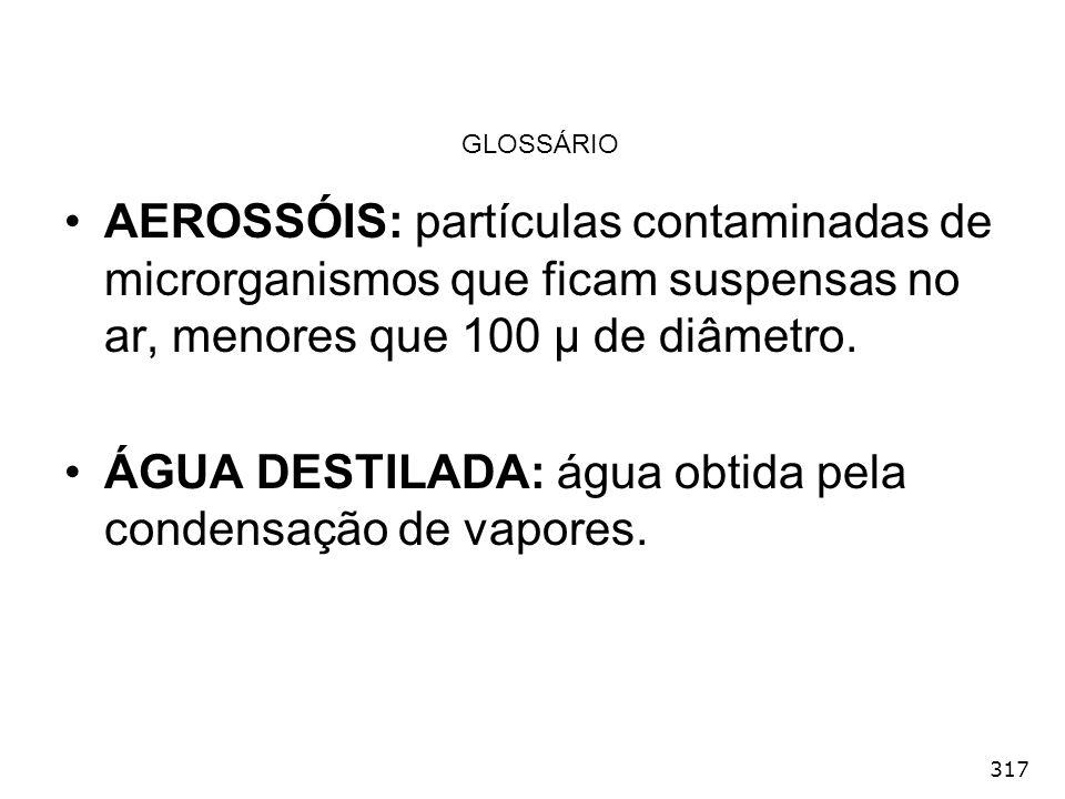 317 GLOSSÁRIO AEROSSÓIS: partículas contaminadas de microrganismos que ficam suspensas no ar, menores que 100 µ de diâmetro. ÁGUA DESTILADA: água obti