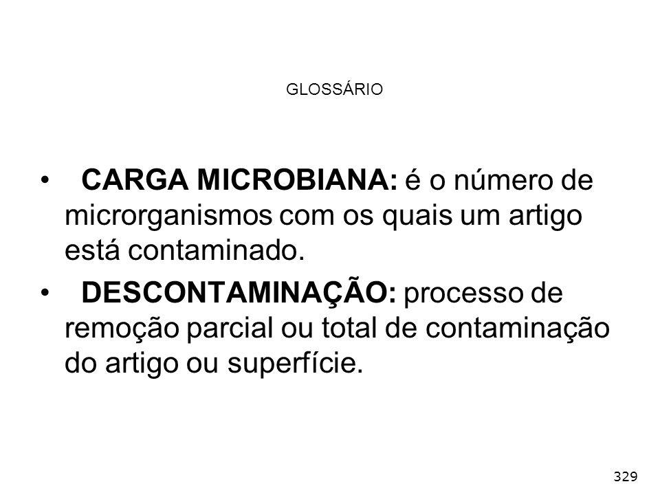 329 GLOSSÁRIO CARGA MICROBIANA: é o número de microrganismos com os quais um artigo está contaminado. DESCONTAMINAÇÃO: processo de remoção parcial ou