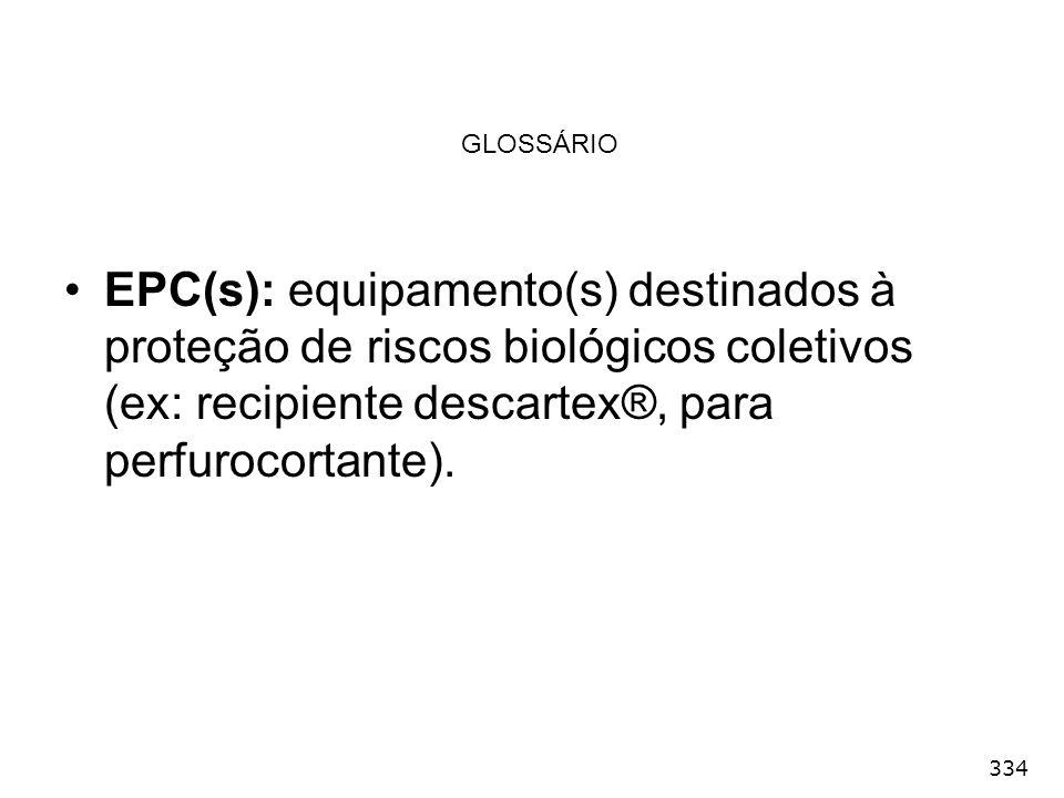 334 GLOSSÁRIO EPC(s): equipamento(s) destinados à proteção de riscos biológicos coletivos (ex: recipiente descartex®, para perfurocortante).