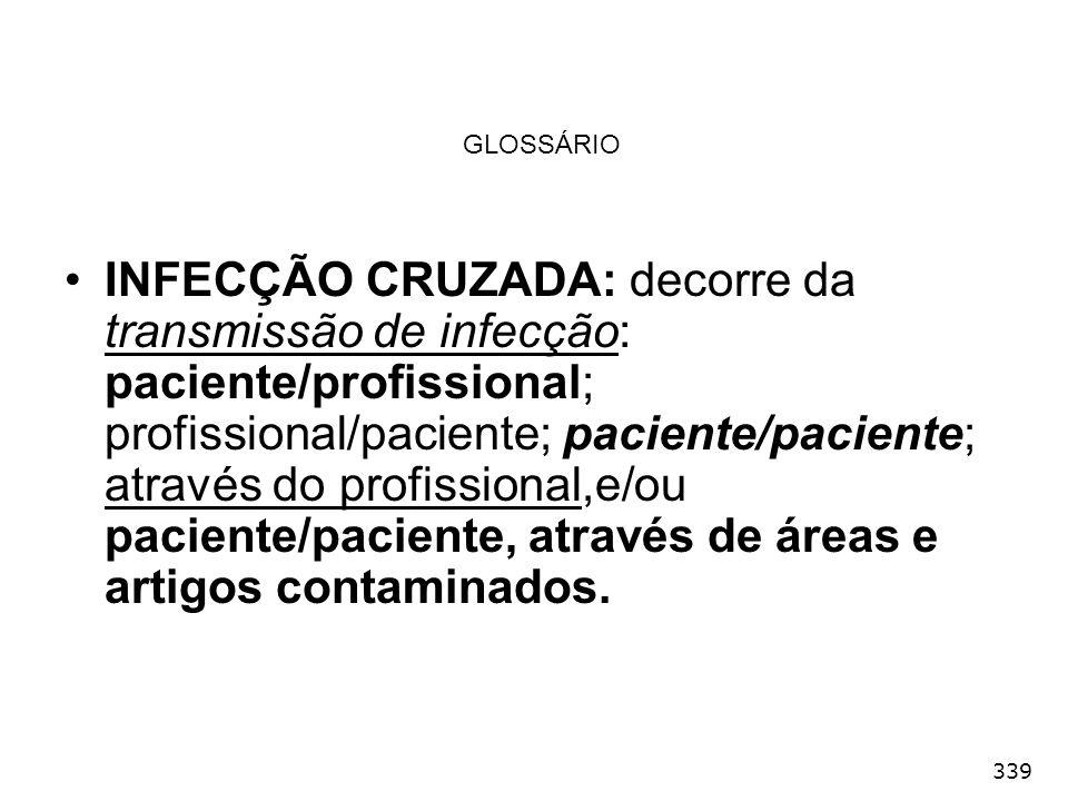 339 GLOSSÁRIO INFECÇÃO CRUZADA: decorre da transmissão de infecção: paciente/profissional; profissional/paciente; paciente/paciente; através do profis