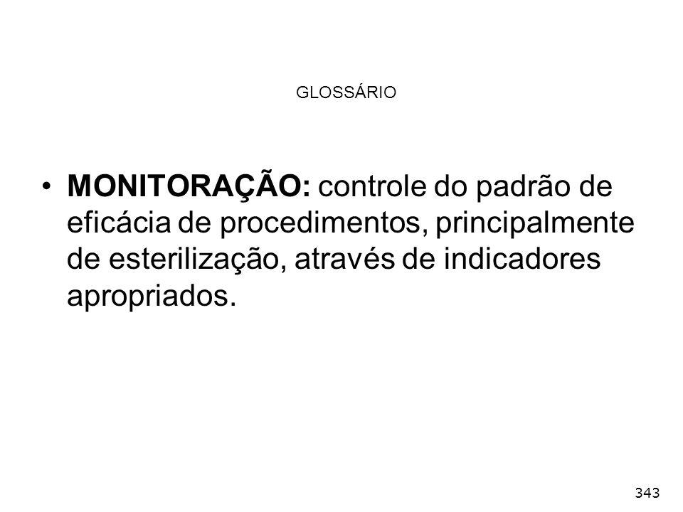 343 GLOSSÁRIO MONITORAÇÃO: controle do padrão de eficácia de procedimentos, principalmente de esterilização, através de indicadores apropriados.