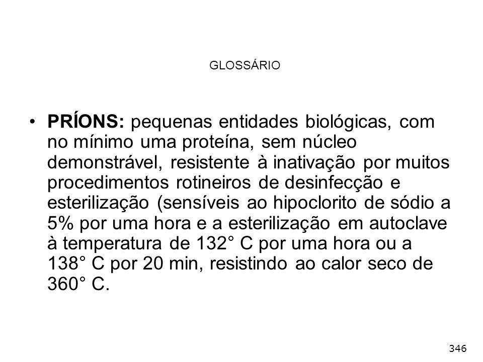 346 GLOSSÁRIO PRÍONS: pequenas entidades biológicas, com no mínimo uma proteína, sem núcleo demonstrável, resistente à inativação por muitos procedime